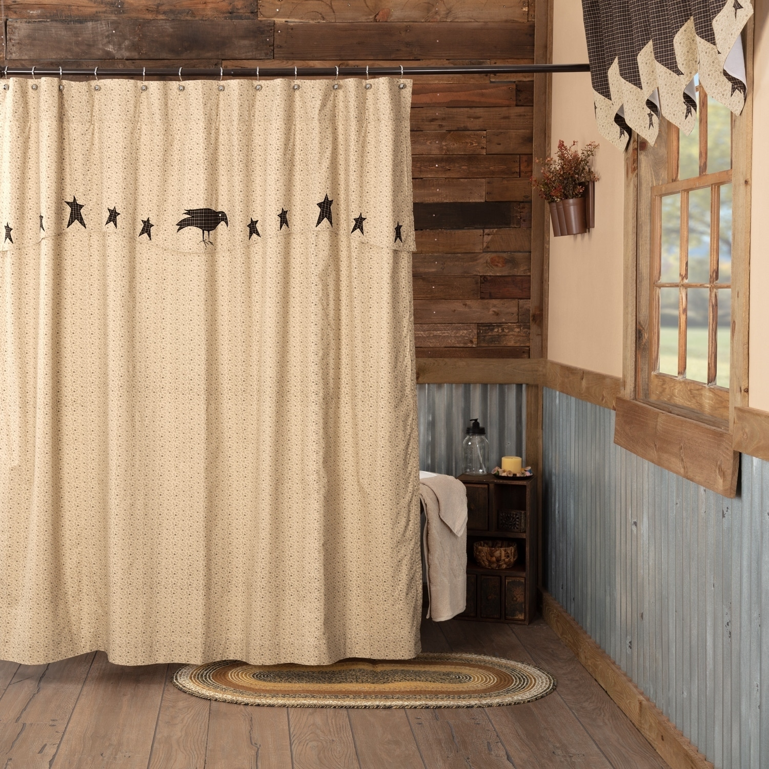Kettle Grove Primitive Star Country Crow Black /& Tan Patchwork Shower Curtain