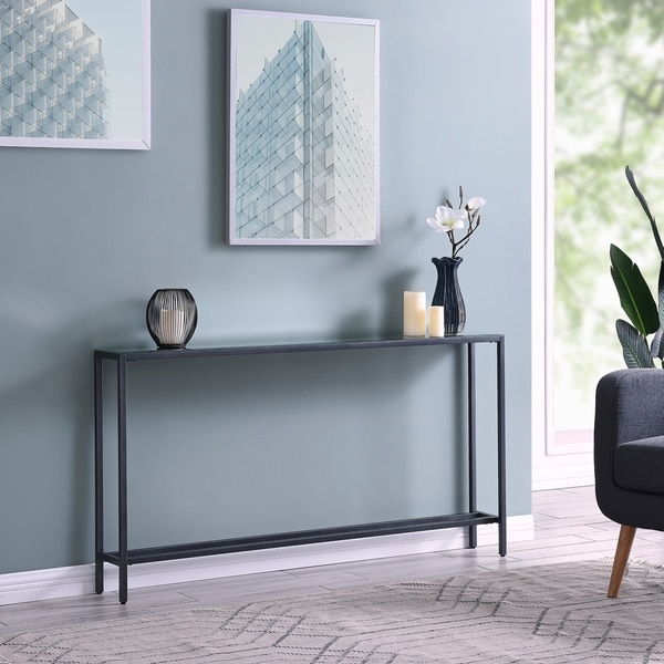 Strick & Bolton Veda Grey Mirrored-top Console Table