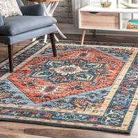 Porch & Den Haight Wool/ Nylon Printed Rosette Medallion Area Rug