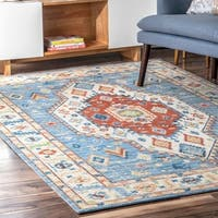 The Curated Nomad Visitacion Wool Canvas Printed Aztec Medallion Area Rug