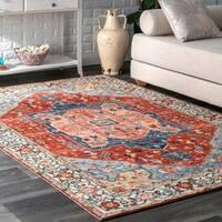 Porch & Den Embarcadero Wool/ Nylon Printed Floral Medallion Area Rug