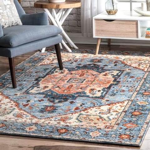 Porch & Den Embarcadero Wool/ Nylon Printed Floral Medallion Area Rug