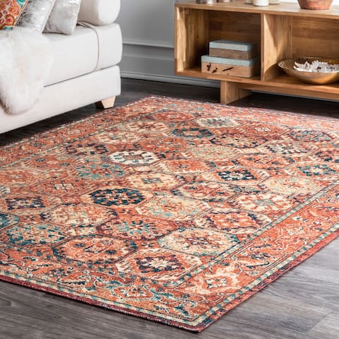 Porch & Den Huntington Antique Persian Tiles Border Area Rug