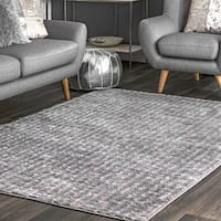 Silver Orchid Bell Contemporary Abstract Checkered Area Rug