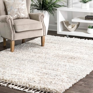 nuLOOM Transitional Solid Matia Totem Ombre Tassel Shag Area Rug