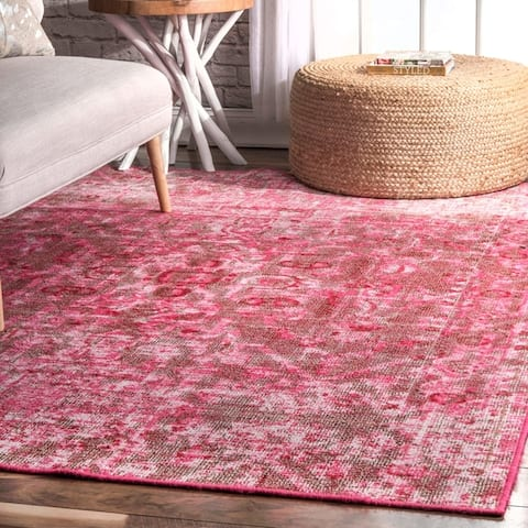 Porch & Den Knickerbocker Medallion Printed Border Area Rug