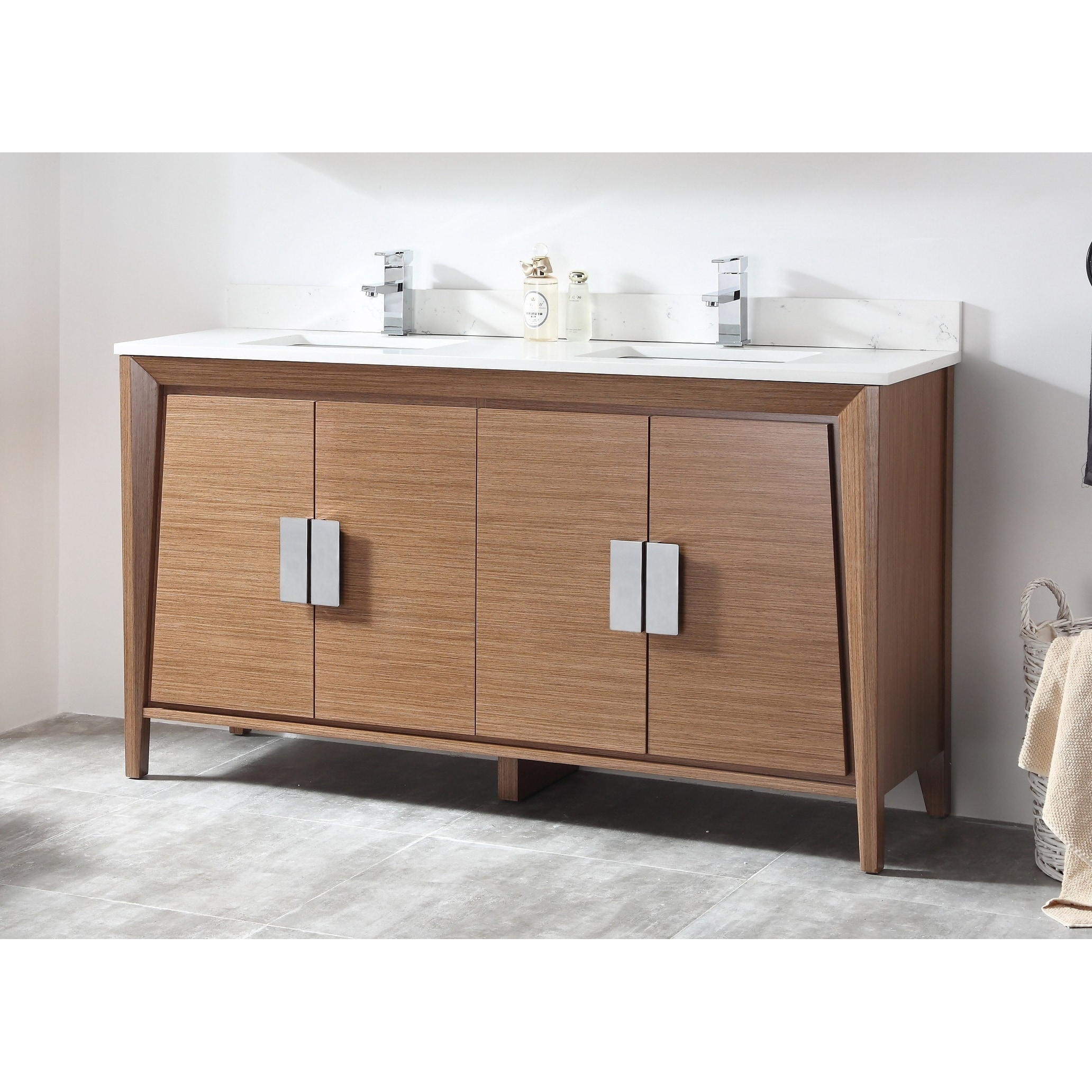 60 Tennant Brand Larvotto Light Wheat Double Sink Bathroom Vanity Overstock 26275628