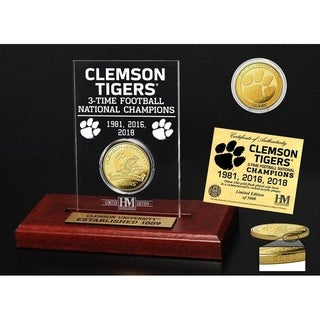 Clemson Tigers 3-Time National Champions Gold Coin Etched Acrylic