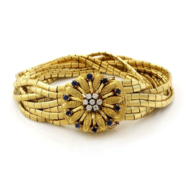 004c12e3d 18K Yellow Gold Diamond & Sapphire Vintage Spaghetti Strings Bracelet  (H-I ...