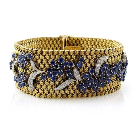 18K Yellow Gold Diamond and Sapphire Vintage Floral Bracelet (I-J, VS1-VS2)
