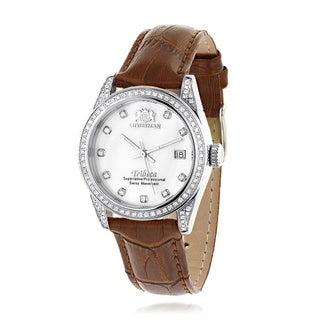 Swiss Quartz Watches Womens Diamond Watch Tribeca w Leather Band by Luxurman - silver