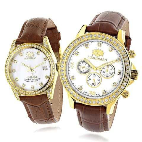 Matching His & Hers Yellow Gold Plated Diamond Watches Leather Band by Luxurman