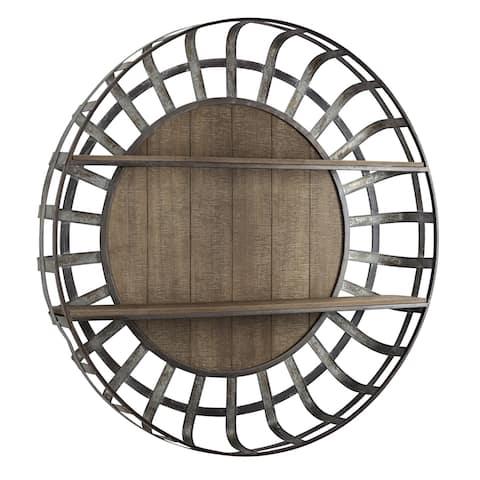 American Art Decor Wood and Metal Round Wall Shelf