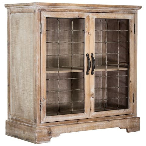American Art Decor Wood & Metal Standing Storage Cabinet with Shelves