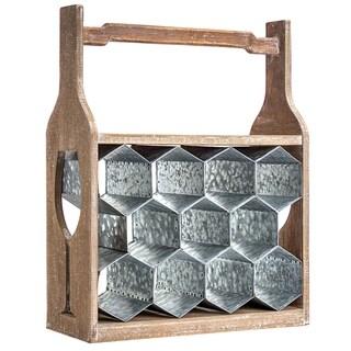 American Art Decor Wood & Metal Table or Floor Wine Rack w/ Handle