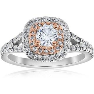Bliss 14k White & Rose Gold 1 ct TDW Cushion Halo Didamond Engagement Ring