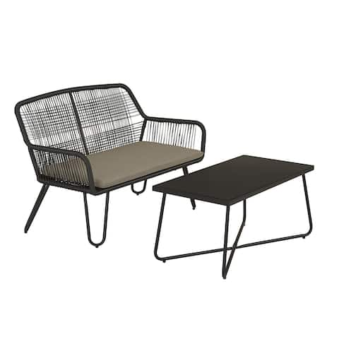 Novogratz Poolside Collection Marli Outdoor Loveseat and Coffee Table