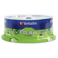 Verbatim CD-RW 700MB 4X-12X High Speed with Branded Surface - 25pk Sp
