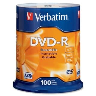 Verbatim AZO DVD-R 4.7GB 16X with Branded Surface - 100pk Spindle|https://ak1.ostkcdn.com/images/products/2627693/P10833817.jpg?impolicy=medium