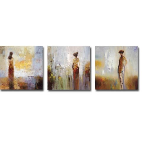 Colors in the Mist I, II & III by Brosi 3-piece Gallery Wrapped Canvas Giclee Art Set (18 in x 18 in each piece, Ready to Hang)