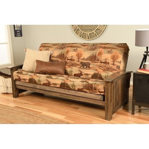 Copper Grove Kostandovo Futon in Rustic Walnut Finish with Mattress