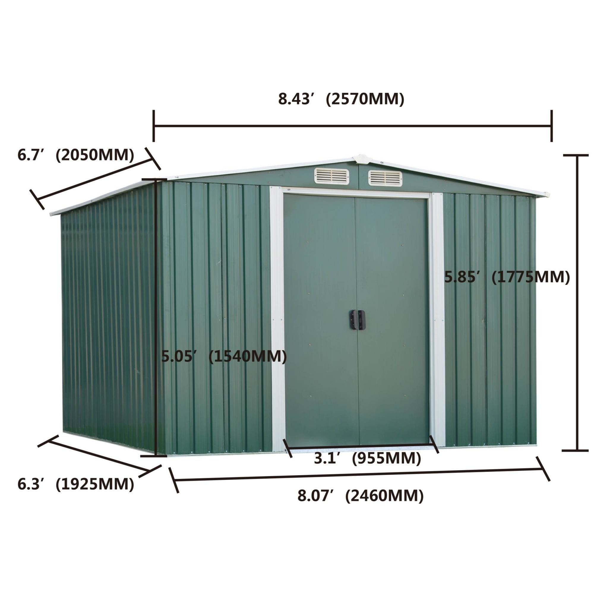 kinbor 8' x 6' outdoor garden storage shed tool house backyard lawn  building garage