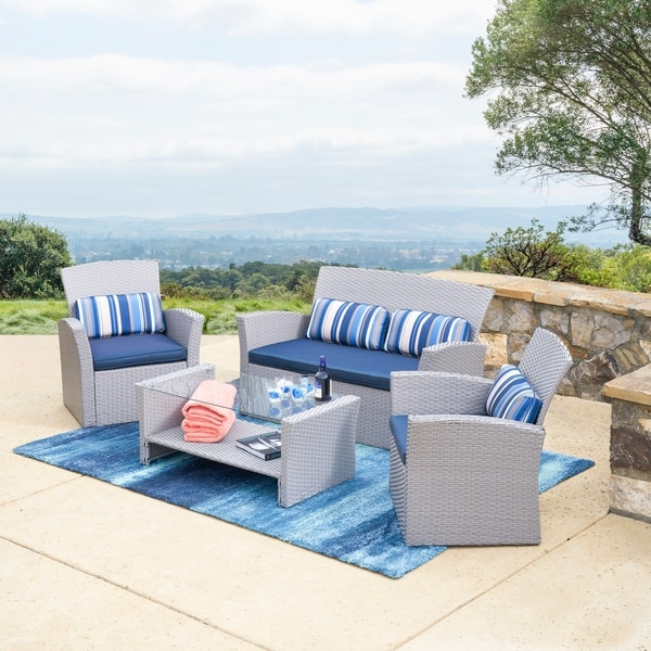 Corvus Nikki 4-piece Grey Wicker Patio Chat Set with Glass Top