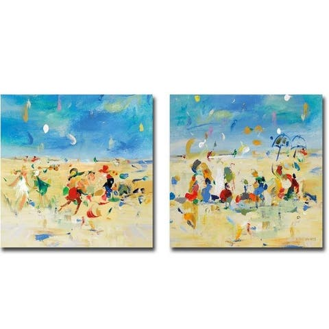 Beach Play 1 & 2 by Jossy Lownes 2-piece Gallery Wrapped Canvas Giclee Art Set (Ready to Hang)