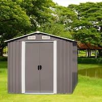Kinbor 6' x 4' Garden Storage Shed Heavy Duty Tool House Backyard Garage w/ Sliding Door