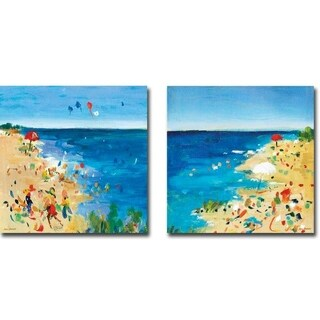 Beach Party I & II by Jossy Lownes 2-piece Gallery Wrapped Canvas Giclee Art Set (Ready to Hang)