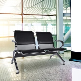 Kinbor 2-Seat Reception Chair Waiting Room Chair Guest Chair Leather Office Airport Salon Bench