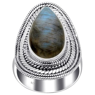 Link to Turquise, Labradorite, Moonstone, Tiger Eye, Quartz Sterling Silver Pear Filigree Ring by Orchid Jewelry Similar Items in Necklaces