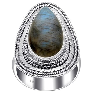 Sterling Silver Handmade Pear Shaped Cabochon Cut Ring With Choice Of Gemstone