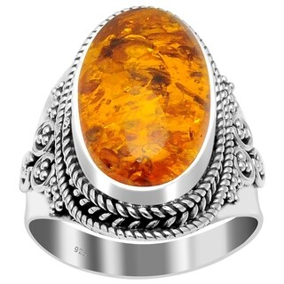 Handmade Sterling Silver Oxidized Bali Beaded Oval Gemstone Ring