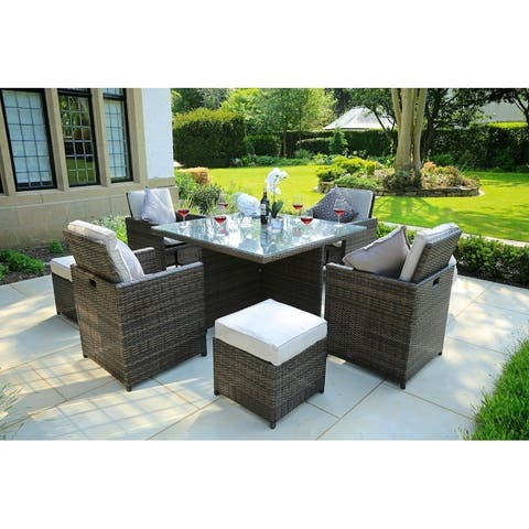 Patio Wicker 9 Piece Dining Set with Cushions by Moda Furnishings