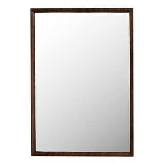 Rectangular Wooden Framed Mirror in Transitional Style, Walnut Brown - Oak Finish