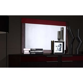Rectangular Red and Brown Wooden Frame Bedroom Mirror - Oak Finish