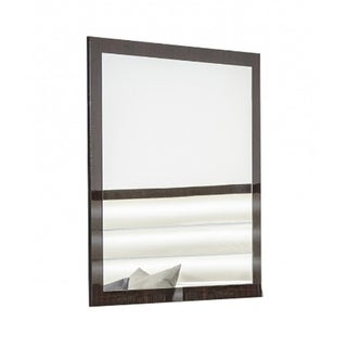 Rectangular Contemporary Brown Wooden Frame Mirror - Oak Finish