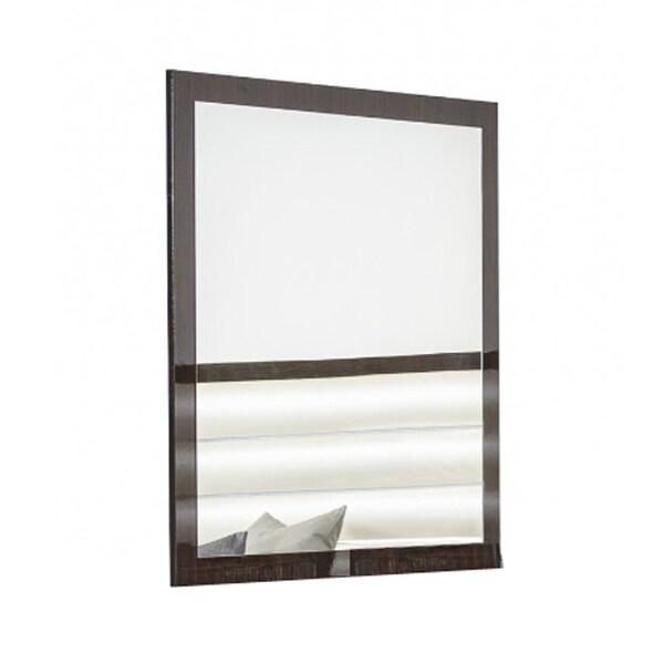 Rectangular Contemporary Brown Wooden Frame Mirror - Oak Finish