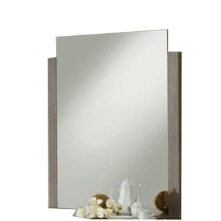 Vertically Wooden Framed Mirror In Contemporary Style, Gray