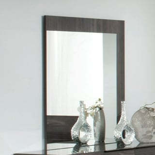 Rectangular Grey Mirror with L-shaped Wooden Frame