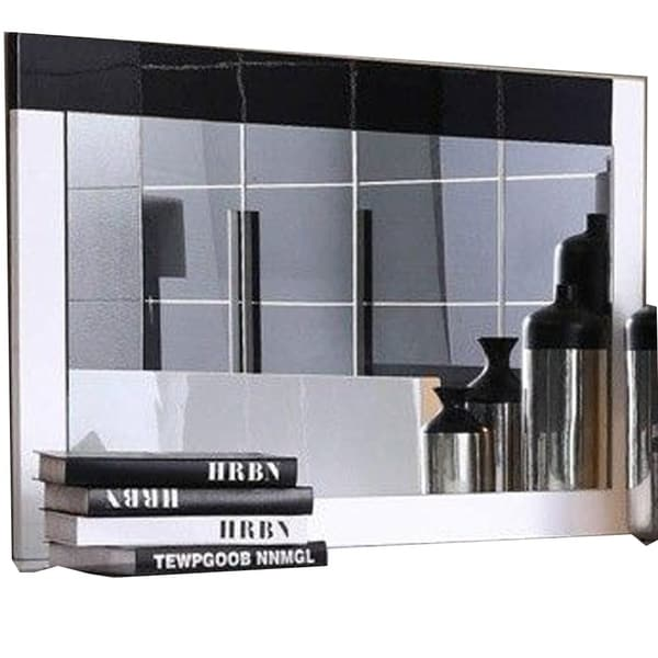 Modern Style Wooden Frame Mirror in Rectangular Shape, Black and White - Mirrored