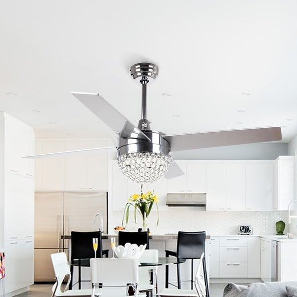 Shop Modern 4 Blades 48 Inch Crystal Ceiling Fan With Remote On Sale Free Shipping Today