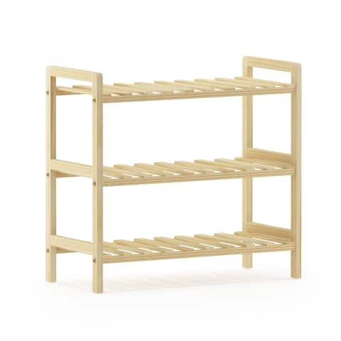 Porch & Den Kuhlman Pine Solid Wood 3-tier Shoe Rack
