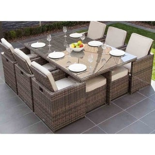 Havenside Home Stillwater 11-piece Patio Wicker Dining Set With Cushions