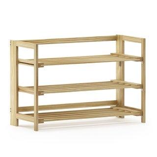 Porch & Den Kuhlman Pine Solid Wood Foldable 3-tier Shoe Rack