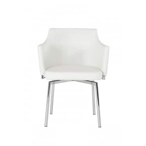 Leather Upholstered Swivel Dining Chair with Chrome Metal Legs, White