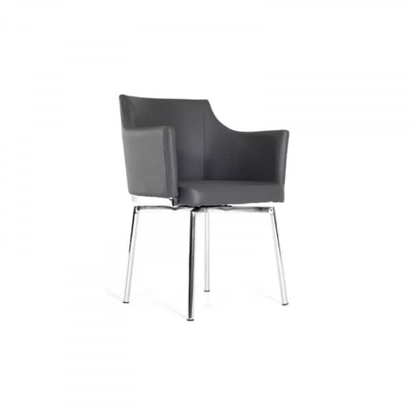 Leather Upholstered Swivel Dining Chair With Chrome Metal Legs Gray On Sale Overstock 26278429