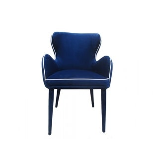 FabricUpholstered Wing Back Design Dining Chair, Blue