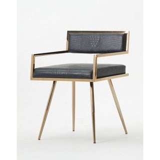 Leatherette Upholstered Black and Gold Metal Dining Chair